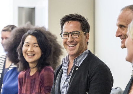 """Jackie Chung and Dan Bucatinsky at the first rehearsal for the world premiere of """"Quack."""" Written by Eliza Clark and directed by Neel Keller, """"Quack"""" will play at Center Theatre Group's Kirk Douglas Theatre October 21 through November 18, 2018. For tickets and information, please visit CenterTheatreGroup.org or call (213) 628-2772. Media Contact: CTGMedia@CTGLA.org / (213) 972-7376. Photo by Craig Schwartz."""