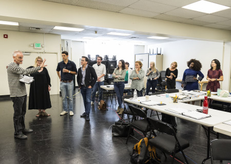 """The company at the first rehearsal for the world premiere of """"Quack."""" Written by Eliza Clark and directed by Neel Keller, """"Quack"""" will play at Center Theatre Group's Kirk Douglas Theatre October 21 through November 18, 2018. For tickets and information, please visit CenterTheatreGroup.org or call (213) 628-2772. Media Contact: CTGMedia@CTGLA.org / (213) 972-7376. Photo by Craig Schwartz."""