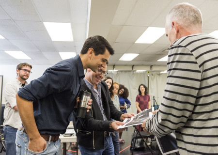 """L-R: Nicholas D'Agosto, Dan Bucatinsky and Neel Keller during the design presentation at the first rehearsal for the world premiere of """"Quack."""" Written by Eliza Clark and directed by Neel Keller, """"Quack"""" will play at Center Theatre Group's Kirk Douglas Theatre October 21 through November 18, 2018. For tickets and information, please visit CenterTheatreGroup.org or call (213) 628-2772. Media Contact: CTGMedia@CTGLA.org / (213) 972-7376. Photo by Craig Schwartz."""