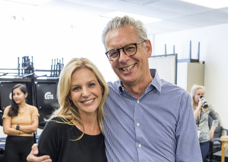 """Jessalyn Gilsig and Center Theatre Group Artistic Director Michael Ritchie at the first rehearsal for the world premiere of """"Quack."""" Written by Eliza Clark and directed by Neel Keller, """"Quack"""" will play at Center Theatre Group's Kirk Douglas Theatre October 21 through November 18, 2018. For tickets and information, please visit CenterTheatreGroup.org or call (213) 628-2772. Media Contact: CTGMedia@CTGLA.org / (213) 972-7376. Photo by Craig Schwartz."""
