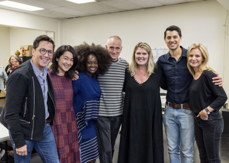"""L-R: Dan Bucatinsky, Jackie Chung, Shoniqua Shandai, director Neel Keller, playwright Eliza Clark, Nicholas D'Agosto and Jessalyn Gilsig at the first rehearsal for the world premiere of """"Quack,"""" which will play at Center Theatre Group's Kirk Douglas Theatre October 21 through November 18, 2018. For tickets and information, please visit CenterTheatreGroup.org or call (213) 628-2772. Media Contact: CTGMedia@CTGLA.org / (213) 972-7376. Photo by Craig Schwartz."""