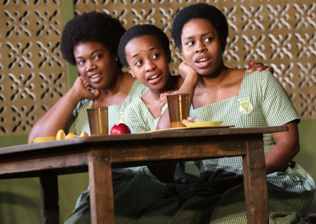"L-R: Abena Mensah-Bonsu, Mirirai Sithole and Paige Gilbert in the MCC Theater production of ""School Girls; Or, the African Mean Girls Play."" Written by Jocelyn Bioh and directed by Rebecca Taichman, ""School Girls"" will play at Center Theatre Group's Kirk Douglas Theatre September 2 through 30, 2018. For tickets and information, please visit CenterTheatreGroup.org or call (213) 628-2772. Media Contact: CTGMedia@CTGLA.org / (213) 972-7376. Photo by Joan Marcus."
