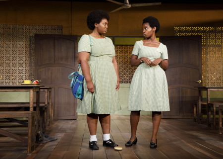 "L-R: Abena Mensah-Bonsu and MaameYaa Boafo in the MCC Theater production of ""School Girls; Or, the African Mean Girls Play."" Written by Jocelyn Bioh and directed by Rebecca Taichman, ""School Girls"" will play at Center Theatre Group's Kirk Douglas Theatre September 2 through 30, 2018. For tickets and information, please visit CenterTheatreGroup.org or call (213) 628-2772. Media Contact: CTGMedia@CTGLA.org / (213) 972-7376. Photo by Joan Marcus."