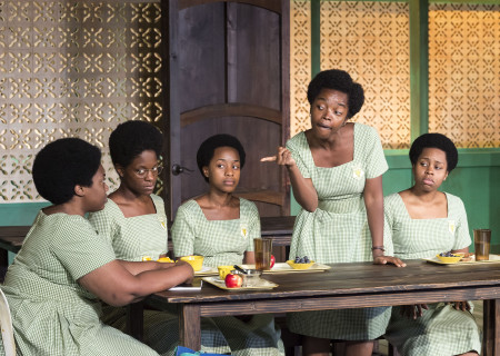 """L-R: Abena Mensah-Bonsu, Latoya Edwards, Mirirai Sithole, MaameYaa Boafo and Paige Gilbert in the MCC Theater production of """"School Girls; Or, the African Mean Girls Play"""" at the Kirk Douglas Theatre. Written by Jocelyn Bioh and directed by Rebecca Taichman, """"School Girls"""" will run through September 30, 2018. For tickets and information, please visit CenterTheatreGroup.org or call (213) 628-2772. Media Contact: CTGMedia@CTGLA.org / (213) 972-7376. Photo by Craig Schwartz."""