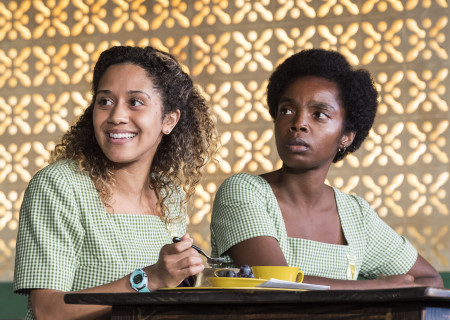 """L-R: Joanna A. Jones and MaameYaa Boafo in the MCC Theater production of """"School Girls; Or, the African Mean Girls Play"""" at the Kirk Douglas Theatre. Written by Jocelyn Bioh and directed by Rebecca Taichman, """"School Girls"""" will run through September 30, 2018. For tickets and information, please visit CenterTheatreGroup.org or call (213) 628-2772. Media Contact: CTGMedia@CTGLA.org / (213) 972-7376. Photo by Craig Schwartz."""