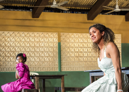"""L-R: MaameYaa Boafo (background) and Joanna A. Jones in the MCC Theater production of """"School Girls; Or, the African Mean Girls Play"""" at the Kirk Douglas Theatre. Written by Jocelyn Bioh and directed by Rebecca Taichman, """"School Girls"""" will run through September 30, 2018. For tickets and information, please visit CenterTheatreGroup.org or call (213) 628-2772. Media Contact: CTGMedia@CTGLA.org / (213) 972-7376. Photo by Craig Schwartz."""