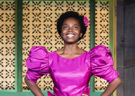 """MaameYaa Boafo in the MCC Theater production of """"School Girls; Or, the African Mean Girls Play"""" at the Kirk Douglas Theatre. Written by Jocelyn Bioh and directed by Rebecca Taichman, """"School Girls"""" will run through September 30, 2018. For tickets and information, please visit CenterTheatreGroup.org or call (213) 628-2772. Media Contact: CTGMedia@CTGLA.org / (213) 972-7376. Photo by Craig Schwartz."""