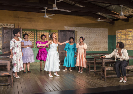 """L-R: Latoya Edwards, Abena Mensah-Bonsu, MaameYaa Boafo, Joanna A. Jones, Paige Gilbert, Mirirai Sithole and Zenzi Williams in the MCC Theater production of """"School Girls; Or, the African Mean Girls Play"""" at the Kirk Douglas Theatre. Written by Jocelyn Bioh and directed by Rebecca Taichman, """"School Girls"""" will run through September 30, 2018. For tickets and information, please visit CenterTheatreGroup.org or call (213) 628-2772. Media Contact: CTGMedia@CTGLA.org / (213) 972-7376. Photo by Craig Schwartz."""
