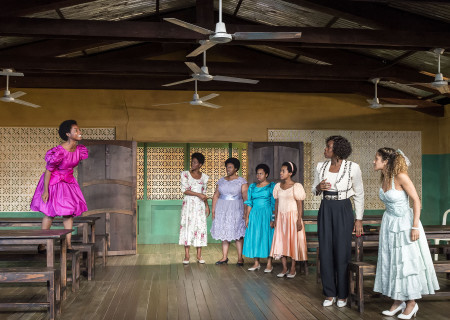 """L-R: MaameYaa Boafo, Latoya Edwards, Abena Mensah-Bonsu, Paige Gilbert, Mirirai Sithole, Zenzi Williams and Joanna A. Jones in the MCC Theater production of """"School Girls; Or, the African Mean Girls Play"""" at the Kirk Douglas Theatre. Written by Jocelyn Bioh and directed by Rebecca Taichman, """"School Girls"""" will run through September 30, 2018. For tickets and information, please visit CenterTheatreGroup.org or call (213) 628-2772. Media Contact: CTGMedia@CTGLA.org / (213) 972-7376. Photo by Craig Schwartz."""