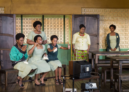 """L-R: Latoya Edwards, Paige Gilbert, Abena Mensah-Bonsu (standing), Mirirai Sithole, Myra Lucretia Taylor and MaameYaa Boafo in the MCC Theater production of """"School Girls; Or, the African Mean Girls Play"""" at the Kirk Douglas Theatre. Written by Jocelyn Bioh and directed by Rebecca Taichman, """"School Girls"""" will run through September 30, 2018. For tickets and information, please visit CenterTheatreGroup.org or call (213) 628-2772. Media Contact: CTGMedia@CTGLA.org / (213) 972-7376. Photo by Craig Schwartz."""