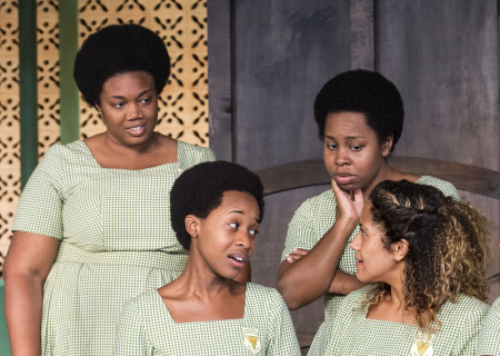 """L-R: Abena Mensah-Bonsu, Mirirai Sithole, Paige Gilbert and Joanna A. Jones in the MCC Theater production of """"School Girls; Or, the African Mean Girls Play"""" at the Kirk Douglas Theatre. Written by Jocelyn Bioh and directed by Rebecca Taichman, """"School Girls"""" will run through September 30, 2018. For tickets and information, please visit CenterTheatreGroup.org or call (213) 628-2772. Media Contact: CTGMedia@CTGLA.org / (213) 972-7376. Photo by Craig Schwartz."""