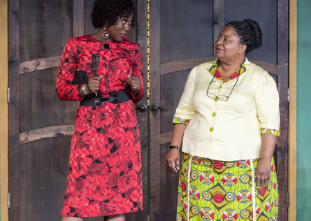 """L-R: Zenzi Williams and Myra Lucretia Taylor in the MCC Theater production of """"School Girls; Or, the African Mean Girls Play"""" at the Kirk Douglas Theatre. Written by Jocelyn Bioh and directed by Rebecca Taichman, """"School Girls"""" will run through September 30, 2018. For tickets and information, please visit CenterTheatreGroup.org or call (213) 628-2772. Media Contact: CTGMedia@CTGLA.org / (213) 972-7376. Photo by Craig Schwartz."""