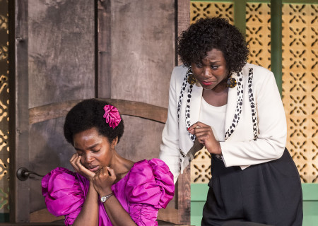 """L-R: MaameYaa Boafo and Zenzi Williams in the MCC Theater production of """"School Girls; Or, the African Mean Girls Play"""" at the Kirk Douglas Theatre. Written by Jocelyn Bioh and directed by Rebecca Taichman, """"School Girls"""" will run through September 30, 2018. For tickets and information, please visit CenterTheatreGroup.org or call (213) 628-2772. Media Contact: CTGMedia@CTGLA.org / (213) 972-7376. Photo by Craig Schwartz."""