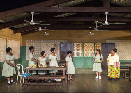 """L-R: Abena Mensah-Bonsu, Latoya Edwards, Mirirai Sithole, MaameYaa Boafo, Paige Gilbert, Joanna A. Jones and Myra Lucretia Taylor in the MCC Theater production of """"School Girls; Or, the African Mean Girls Play"""" at the Kirk Douglas Theatre. Written by Jocelyn Bioh and directed by Rebecca Taichman, """"School Girls"""" will run through September 30, 2018. For tickets and information, please visit CenterTheatreGroup.org or call (213) 628-2772. Media Contact: CTGMedia@CTGLA.org / (213) 972-7376. Photo by Craig Schwartz."""