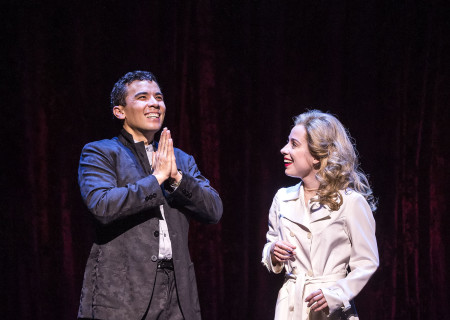 "Conrad Ricamora and Alyse Alan Louis in the world premiere of David Henry Hwang and Jeanine Tesori's ""Soft Power"" at Center Theatre Group/Ahmanson Theatre. Directed by Leigh Silverman and choreographed by Sam Pinkleton; Soft Power; runs through June 10; 2018. For tickets and information; please visit CenterTheatreGroup.org or call (213) 972-4400. Media Contact: CTGMedia@CTGLA.org / (213) 972-7376. Photo by Craig Schwartz."