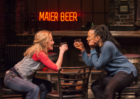 "L-R: Mary Mara and Portia in the Center Theatre Group production of ""Sweat"" at the Mark Taper Forum. Directed by Lisa Peterson and written by Lynn Nottage, ""Sweat"" will play through October 7, 2018. For tickets and information, please visit CenterTheatreGroup.org or call (213) 628-2772. Media Contact: CTGMedia@CTGLA.org / (213) 972-7376. Photo by Craig Schwartz."