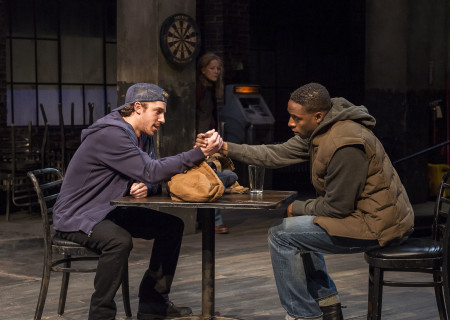 "L-R: Will Hochman and Grantham Coleman (Mary Mara in background) in the Center Theatre Group production of ""Sweat"" at the Mark Taper Forum. Directed by Lisa Peterson and written by Lynn Nottage, ""Sweat"" will play through October 7, 2018. For tickets and information, please visit CenterTheatreGroup.org or call (213) 628-2772. Media Contact: CTGMedia@CTGLA.org / (213) 972-7376. Photo by Craig Schwartz."