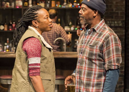 "Portia and John Earl Jelks in the Center Theatre Group production of ""Sweat"" at the Mark Taper Forum. Directed by Lisa Peterson and written by Lynn Nottage, ""Sweat"" will play through October 7, 2018. For tickets and information, please visit CenterTheatreGroup.org or call (213) 628-2772. Media Contact: CTGMedia@CTGLA.org / (213) 972-7376. Photo by Craig Schwartz."