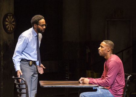 "L-R: Kevin T. Carroll and Grantham Coleman in the Center Theatre Group production of ""Sweat"" at the Mark Taper Forum. Directed by Lisa Peterson and written by Lynn Nottage, ""Sweat"" will play through October 7, 2018. For tickets and information, please visit CenterTheatreGroup.org or call (213) 628-2772. Media Contact: CTGMedia@CTGLA.org / (213) 972-7376. Photo by Craig Schwartz."