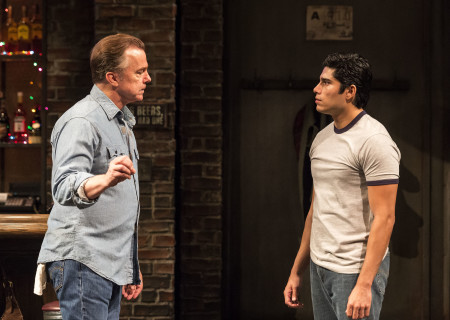 "L-R: Michael O'Keefe and Peter Mendoza in the Center Theatre Group production of ""Sweat"" at the Mark Taper Forum. Directed by Lisa Peterson and written by Lynn Nottage, ""Sweat"" will play through October 7, 2018. For tickets and information, please visit CenterTheatreGroup.org or call (213) 628-2772. Media Contact: CTGMedia@CTGLA.org / (213) 972-7376. Photo by Craig Schwartz."