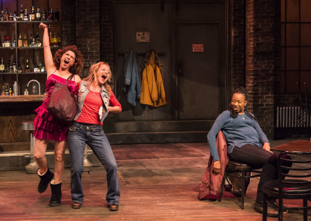 "L-R: Amy Pietz, Mary Mara and Portia in the Center Theatre Group production of ""Sweat"" at the Mark Taper Forum. Directed by Lisa Peterson and written by Lynn Nottage, ""Sweat"" will play through October 7, 2018. For tickets and information, please visit CenterTheatreGroup.org or call (213) 628-2772. Media Contact: CTGMedia@CTGLA.org / (213) 972-7376. Photo by Craig Schwartz."