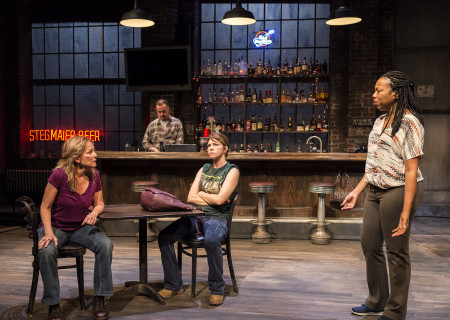 "L-R: Mary Mara, Michael O'Keefe (background), Amy Pietz and Portia in the Center Theatre Group production of ""Sweat"" at the Mark Taper Forum. Directed by Lisa Peterson and written by Lynn Nottage, ""Sweat"" will play through October 7, 2018. For tickets and information, please visit CenterTheatreGroup.org or call (213) 628-2772. Media Contact: CTGMedia@CTGLA.org / (213) 972-7376. Photo by Craig Schwartz."
