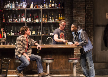 "L-R: Will Hochman, Michael O'Keefe and Grantham Coleman in the Center Theatre Group production of ""Sweat"" at the Mark Taper Forum. Directed by Lisa Peterson and written by Lynn Nottage, ""Sweat"" will play through October 7, 2018. For tickets and information, please visit CenterTheatreGroup.org or call (213) 628-2772. Media Contact: CTGMedia@CTGLA.org / (213) 972-7376. Photo by Craig Schwartz."