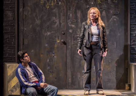 "Peter Mendoza and Mary Mara in the Center Theatre Group production of ""Sweat"" at the Mark Taper Forum. Directed by Lisa Peterson and written by Lynn Nottage, ""Sweat"" will play through October 7, 2018. For tickets and information, please visit CenterTheatreGroup.org or call (213) 628-2772. Media Contact: CTGMedia@CTGLA.org / (213) 972-7376. Photo by Craig Schwartz."
