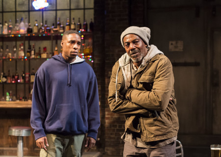 "L-R: Grantham Coleman and John Earl Jelks in the Center Theatre Group production of ""Sweat"" at the Mark Taper Forum. Directed by Lisa Peterson and written by Lynn Nottage, ""Sweat"" will play through October 7, 2018. For tickets and information, please visit CenterTheatreGroup.org or call (213) 628-2772. Media Contact: CTGMedia@CTGLA.org / (213) 972-7376. Photo by Craig Schwartz."