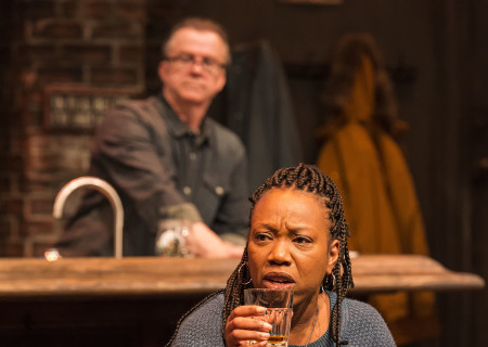 "Portia and Michael O'Keefe (background) in the Center Theatre Group production of ""Sweat"" at the Mark Taper Forum. Directed by Lisa Peterson and written by Lynn Nottage, ""Sweat"" will play through October 7, 2018. For tickets and information, please visit CenterTheatreGroup.org or call (213) 628-2772. Media Contact: CTGMedia@CTGLA.org / (213) 972-7376. Photo by Craig Schwartz."