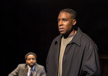 "L-R: Kevin T. Carroll (background) and Grantham Coleman in the Center Theatre Group production of ""Sweat"" at the Mark Taper Forum. Directed by Lisa Peterson and written by Lynn Nottage, ""Sweat"" will play through October 7, 2018. For tickets and information, please visit CenterTheatreGroup.org or call (213) 628-2772. Media Contact: CTGMedia@CTGLA.org / (213) 972-7376. Photo by Craig Schwartz."