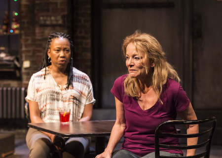 "L-R: Portia and Mary Mara in the Center Theatre Group production of ""Sweat"" at the Mark Taper Forum. Directed by Lisa Peterson and written by Lynn Nottage, ""Sweat"" will play through October 7, 2018. For tickets and information, please visit CenterTheatreGroup.org or call (213) 628-2772. Media Contact: CTGMedia@CTGLA.org / (213) 972-7376. Photo by Craig Schwartz."