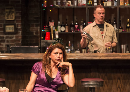 "L-R: Amy Pietz and Michal O'Keefe (background) in the Center Theatre Group production of ""Sweat"" at the Mark Taper Forum. Directed by Lisa Peterson and written by Lynn Nottage, ""Sweat"" will play through October 7, 2018. For tickets and information, please visit CenterTheatreGroup.org or call (213) 628-2772. Media Contact: CTGMedia@CTGLA.org / (213) 972-7376. Photo by Craig Schwartz."