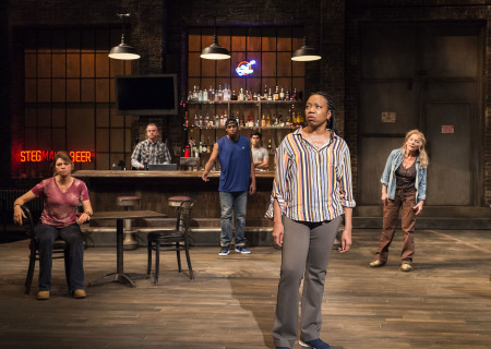 "L-R: Amy Pietz, Michael O'Keefe, Grantham Coleman, Peter Mendoza, Portia and Mary Mara in the Center Theatre Group production of ""Sweat"" at the Mark Taper Forum. Directed by Lisa Peterson and written by Lynn Nottage, ""Sweat"" will play through October 7, 2018. For tickets and information, please visit CenterTheatreGroup.org or call (213) 628-2772. Media Contact: CTGMedia@CTGLA.org / (213) 972-7376. Photo by Craig Schwartz."