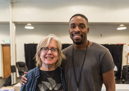 "Director Lisa Peterson and Grantham Coleman at the first rehearsal for ""Sweat"" by Lynn Nottage. ""Sweat"" runs August 29 through October 7, 2018, at the Center Theatre Group/Mark Taper Forum. For tickets and information, please visit CenterTheatreGroup.org or call (213) 628-2772. Media Contact: CTGMedia@CTGLA.org / (213) 972-7376. Photo by Craig Schwartz."