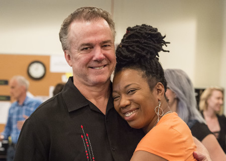 "Cast members Michael O'Keefe and Portia at the first rehearsal for ""Sweat"" by Lynn Nottage. Directed by Lisa Peterson, ""Sweat"" runs August 29 through October 7, 2018, at the Center Theatre Group/Mark Taper Forum. For tickets and information, please visit CenterTheatreGroup.org or call (213) 628-2772. Media Contact: CTGMedia@CTGLA.org / (213) 972-7376. Photo by Craig Schwartz."