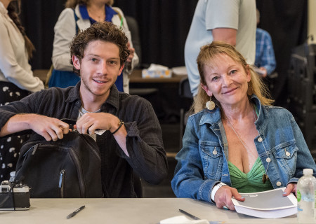 "Will Hochman and Mary Mara at the first rehearsal for ""Sweat"" by Lynn Nottage. Directed by Lisa Peterson, ""Sweat"" runs August 29 through October 7, 2018, at the Center Theatre Group/Mark Taper Forum. For tickets and information, please visit CenterTheatreGroup.org or call (213) 628-2772. Media Contact: CTGMedia@CTGLA.org / (213) 972-7376. Photo by Craig Schwartz."