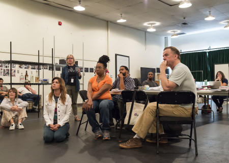 "The company during the design presentation at the first rehearsal for ""Sweat"" by Lynn Nottage. Directed by Lisa Peterson, ""Sweat"" runs August 29 through October 7, 2018, at the Center Theatre Group/Mark Taper Forum. For tickets and information, please visit CenterTheatreGroup.org or call (213) 628-2772. Media Contact: CTGMedia@CTGLA.org / (213) 972-7376. Photo by Craig Schwartz."