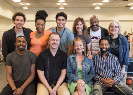 "L-R: (back row) Will Hochman, Portia, Peter Mendoza, Amy Pietz, John Earl Jelks, director Lisa Peterson and (front row) Grantham Coleman, Michael O'Keefe, Mary Mara and Kevin T. Carroll at the first rehearsal for ""Sweat"" by Lynn Nottage. ""Sweat"" runs August 29 through October 7, 2018, at the Center Theatre Group/Mark Taper Forum. For tickets and information, please visit CenterTheatreGroup.org or call (213) 628-2772. Media Contact: CTGMedia@CTGLA.org / (213) 972-7376. Photo by Craig Schwartz."