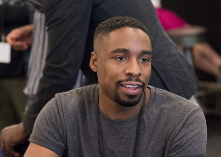 "Grantham Coleman at the first rehearsal for ""Sweat"" by Lynn Nottage. Directed by Lisa Peterson, ""Sweat"" runs August 29 through October 7, 2018, at the Center Theatre Group/Mark Taper Forum. For tickets and information, please visit CenterTheatreGroup.org or call (213) 628-2772. Media Contact: CTGMedia@CTGLA.org / (213) 972-7376. Photo by Craig Schwartz."