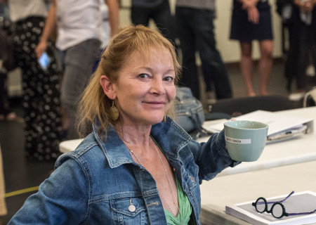 "Mary Mara at the first rehearsal for ""Sweat"" by Lynn Nottage. Directed by Lisa Peterson, ""Sweat"" runs August 29 through October 7, 2018, at the Center Theatre Group/Mark Taper Forum. For tickets and information, please visit CenterTheatreGroup.org or call (213) 628-2772. Media Contact: CTGMedia@CTGLA.org / (213) 972-7376. Photo by Craig Schwartz."