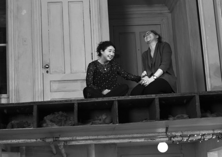 "L-R: Sarah Steele and Cassie Beck in the New York production of ""The Humans."" Steele and Beck will reunite for the Los Angeles engagement of ""The Humans"" presented by Center Theatre Group at the Ahmanson Theatre June 19 through July 29, 2018. For tickets and information, please visit CenterTheatreGroup.org or call (213) 972-4400. Press Contact: CTGMedia@CTGLA.org / (213) 972-7376. Photo by Brigitte Lacombe."
