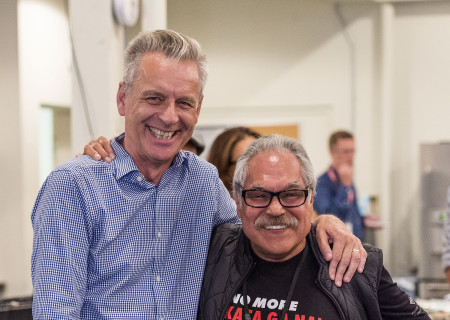 """L-R: Center Theatre Group Artistic Director Michael Ritchie and writer/director Luis Valdez at a rehearsal for the Center Theatre Group production of Valdez's """"Valley of the Heart."""" Presented in association with El Teatro Campesino, """"Valley of the Heart"""" will play October 30 through December 9 at the Mark Taper Forum. For tickets and information, please visit CenterTheatreGroup.org or call (213) 628-2772. Media Contact: CTGMedia@CTGLA.org / (213) 972-7376. Photo by Craig Schwartz."""