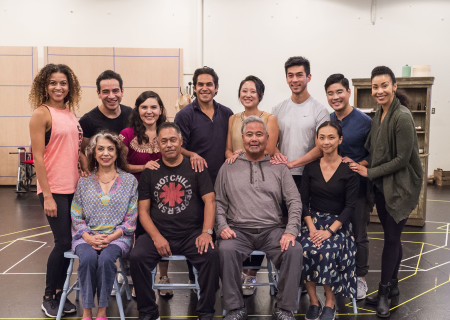 """L-R: (back row) Mariela Arteaga, Moises Castro, Christy Sandoval, Lakin Valdez, Melanie Arii Mah, Justin Chien, Scott Keiji Takeda, Theresa Murray, (front row) Rose Portillo, Daniel Valdez, Randall Nakano and Joy Osmanski at a rehearsal for the Center Theatre Group production of Luis Valdez's """"Valley of the Heart."""" Presented in association with El Teatro Campesino, """"Valley of the Heart"""" will play October 30 through December 9 at the Mark Taper Forum. For tickets and information, please visit CenterTheatreGroup.org or call (213) 628-2772. Media Contact: CTGMedia@CTGLA.org / (213) 972-7376. Photo by Craig Schwartz."""