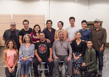 """L-R: (back row) writer/director Luis Valdez, Moises Castro, Christy Sandoval, Lakin Valdez, Melanie Arii Mah, Justin Chien, Scott Keiji Takeda, associate director Kinan Valdez, (front row) Mariela Arteaga, Rose Portillo, Daniel Valdez, Randall Nakano, Joy Osmanski and Theresa Murray at a rehearsal for the Center Theatre Group production of Luis Valdez's """"Valley of the Heart."""" Presented in association with El Teatro Campesino, """"Valley of the Heart"""" will play October 30 through December 9 at the Mark Taper Forum. For tickets and information, please visit CenterTheatreGroup.org or call (213) 628-2772. Media Contact: CTGMedia@CTGLA.org / (213) 972-7376. Photo by Craig Schwartz."""