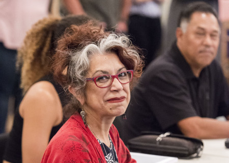 """Rose Portillo at a rehearsal for the Center Theatre Group production of Luis Valdez's """"Valley of the Heart."""" Presented in association with El Teatro Campesino, """"Valley of the Heart"""" will play October 30 through December 9 at the Mark Taper Forum. For tickets and information, please visit CenterTheatreGroup.org or call (213) 628-2772. Media Contact: CTGMedia@CTGLA.org / (213) 972-7376. Photo by Craig Schwartz."""