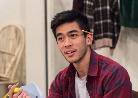 """Justin Chien at a rehearsal for the Center Theatre Group production of Luis Valdez's """"Valley of the Heart."""" Presented in association with El Teatro Campesino, """"Valley of the Heart"""" will play October 30 through December 9 at the Mark Taper Forum. For tickets and information, please visit CenterTheatreGroup.org or call (213) 628-2772. Media Contact: CTGMedia@CTGLA.org / (213) 972-7376. Photo by Craig Schwartz."""