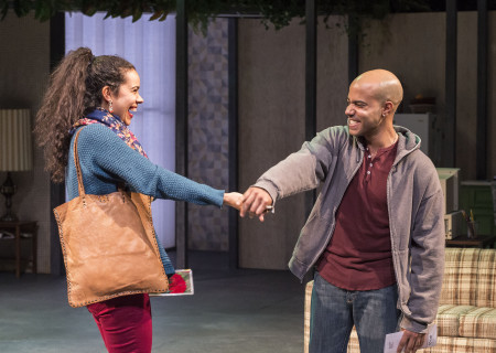 "Keren Lugo and Sean Carvajal in the Center Theatre Group production of ""Water by the Spoonful"" at the Mark Taper Forum. Directed by Lileana Blain-Cruz and written by Quiara Alegría Hudes, ""Water by the Spoonful"" will play through March 11, 2018. For tickets and information, please visit CenterTheatreGroup.org or call (213) 628-2772. Media Contact: CTGMedia@CTGLA.org / (213) 972-7376. Photo by Craig Schwartz."