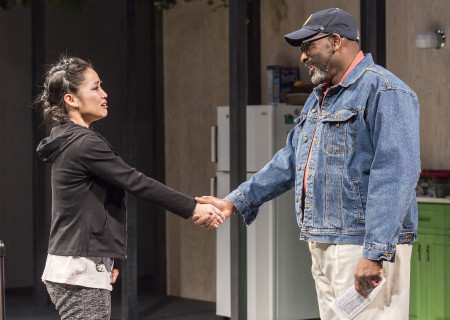 "Sylvia Kwan and Bernard K. Addison in the Center Theatre Group production of ""Water by the Spoonful"" at the Mark Taper Forum. Directed by Lileana Blain-Cruz and written by Quiara Alegría Hudes, ""Water by the Spoonful"" will play through March 11, 2018. For tickets and information, please visit CenterTheatreGroup.org or call (213) 628-2772. Media Contact: CTGMedia@CTGLA.org / (213) 972-7376. Photo by Craig Schwartz."