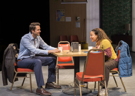 "Josh Braaten and Luna Lauren Vélez in the Center Theatre Group production of ""Water by the Spoonful"" at the Mark Taper Forum. Directed by Lileana Blain-Cruz and written by Quiara Alegría Hudes, ""Water by the Spoonful"" will play through March 11, 2018. For tickets and information, please visit CenterTheatreGroup.org or call (213) 628-2772. Media Contact: CTGMedia@CTGLA.org / (213) 972-7376. Photo by Craig Schwartz."